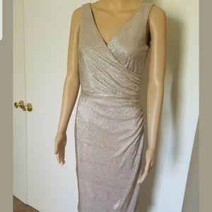 Lauren by Ralph Lauren. Shimmering gold dress.